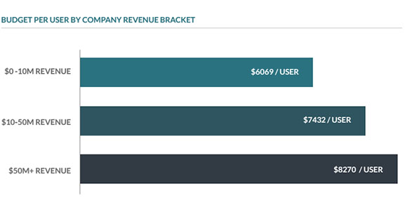erp budget per user revenue bracket